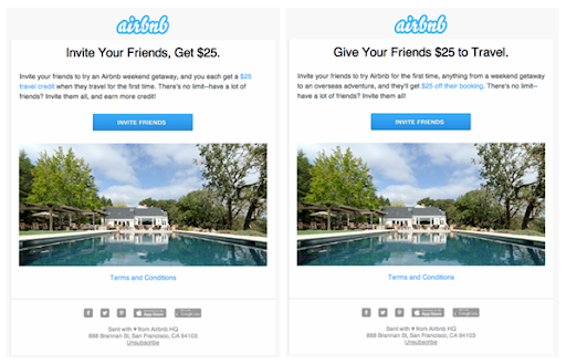Airbnb referral email copy